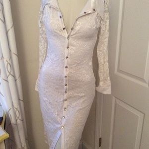 NEW WHITE LACE  DRESS, SMALL